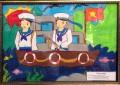 Học sinh tham gia cuộc thi vẽ tranh hướng về biển Đông.